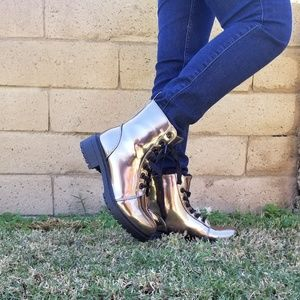 Combat Metallic Lace Up Boots